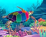 Paint by Numbers Kits for Kids- Number Painting DIY Craft Kits - 20x16 Inch Acrylic Oil Painting On Canvas - Painting Set for Kids & Beginner & Adult, Colorful Sea Turtle