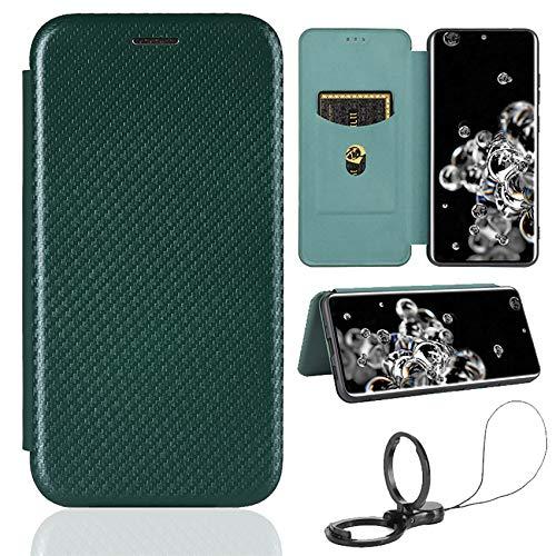 TOPOFU Leder Folio Hülle für ZTE Axon 20 5G, Premium Kohlefaser Flip Wallet Tasche mit Kartenfächern, Magnetic, Standfunktion, Lederhülle Handyhülle Schutzhülle (Grün)