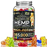 Wellution Hemp Gummies 985,000 High Potency - Fruity Gummy Bear with Hemp Oil, Natural Hemp Candy Supplements for Soreness, Anxiety, Stress & Inflammation Relief, Promotes Sleep & Calm Mood