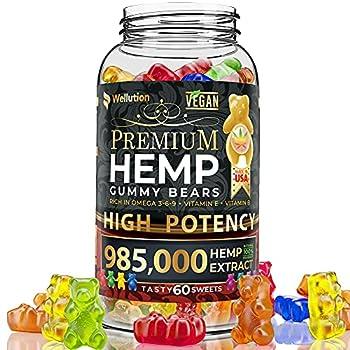 Wellution Hemp Gummies 985,000 High Potency - Fruity Gummy Bear with Hemp Oil Natural Hemp Candy Supplements for Soreness Stress & Inflammation Relief Promotes Sleep & Calm Mood