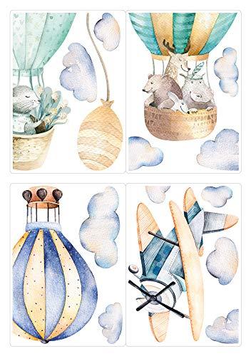 dekodino® Fenstersticker Kinderzimmer Aquarell Tiere Heißluftballon