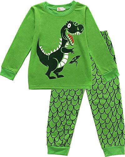 EULLA Jungen Schlafanzug Lang Kinder Pyjama Baumwolle Nachtwäsche, C-grün, EU 116(5-6Jahre)=Tag 130