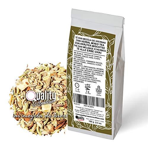 Té Chai. Chai Mezcla de Hierbas. Con regaliz, trozos de canela, hinojo, anís. jengibre, clavo y cardamomo. No aromatizado. Diurético. Antioxidante. 100 gramos