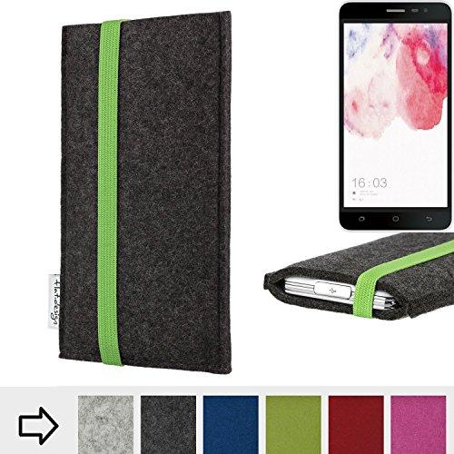 flat.design Handy Hülle Coimbra für Hisense F20 Dual-SIM handgefertigte Handytasche Filz Tasche fair grün dunkelgrau