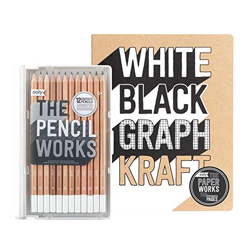 OOLY Happy Pack, Graphite Pencils + Sketchbook + Sharpener - Work-It, Draw-It Giftables Pack