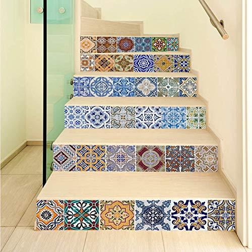 Etiqueta de baldosa de cerámica de la escalera Pegatina de baldosas de cerámica Decoración de la cocina PVC Auto adhesivo DIY Mosaico Azulejos Poster Pequeño 3D Pegatinas de pared ( Color : 1set )