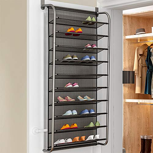 36 Pair Over Door Hanging Shoe Rack 10 Tier Shoes Organizer Wall Mounted Shoe Hanging Shelf, Over The Door Organizer-Space Saving Hanging Storage Shelves for Kitchen, Pantry, Closet