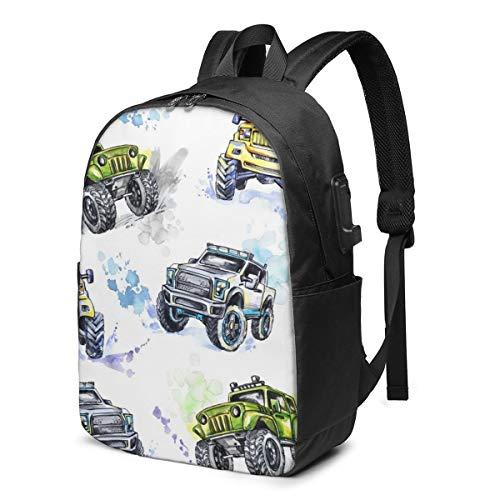 Aquarell Cartoon Monster Trucks Fahrzeug Off Road Kordelzug Rucksack Sport Sporttasche für Frauen Männer Kinder 11,8 x 16,9 Zoll
