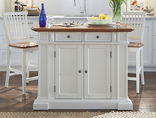 Americana White and Distressed Oak Kitchen Island and Stools by Home Styles
