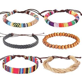 Wrap Bead Leather Woven Stretch Bracelet - 6 Pcs Boho Hemp Linen String Bracelet for Men Women Girls