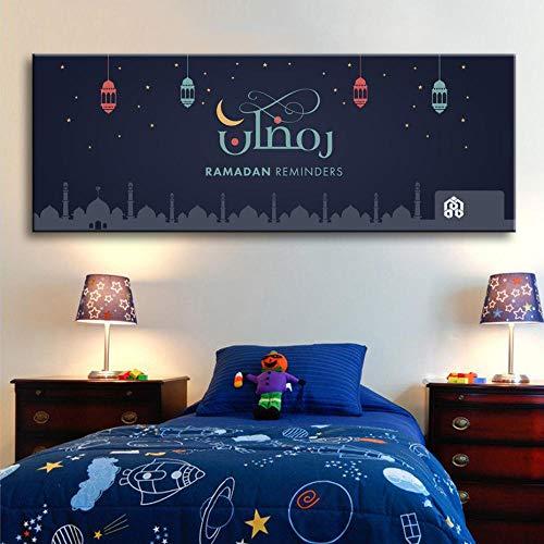 WADPJ Cartoon Ramadan herinneringslichten kinderkamer muurkunst canvas schilderij islamitische religieuze poster afdrukken kinderkamer wooncultuur 40 x 110 cm x 1 st. Geen lijst