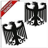 SkinoEu® 2 Stück Vinyl Aufkleber Autoaufkleber Deutschland Deutsche Wappen Flagge Fahne Aufnäher Abzeichen Deutscher Adler Stickers Auto Moto Motorrad Fahrrad Helm Fenster Tuning B 181