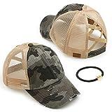 C.C Exclusives Washed Distressed Cotton Denim Criss-Cross Ponytail Hat Adjustable Baseball Cap Bundle Hair Tie (BT-783) (A Elastic Band-Dk. Grey/Camo)