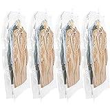 TAILI 圧縮袋 吊るせる 衣類あっしゅく袋 コート洋服 真空収納袋 ダウンジャケット服真空パック 掃除機対応 立体型 135×70×38 cm 4枚組…