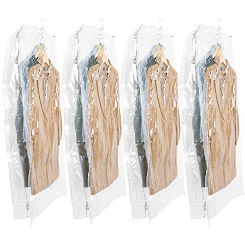 TAILI Hanging Vacuum Wide-Side Space Saver Bags, Set of 4 Long Size (53x27.6x15 inch), Vacuum Seal Storage Bag Clear Bags for Clothes Suits, Dress or Jackets, Closet Organizer