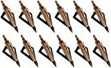 Huntingdoor 12 Pack Hunting Broadheads 125 Grain 3 Fixed Blade Archery Arrowheads Screw in Hunting...