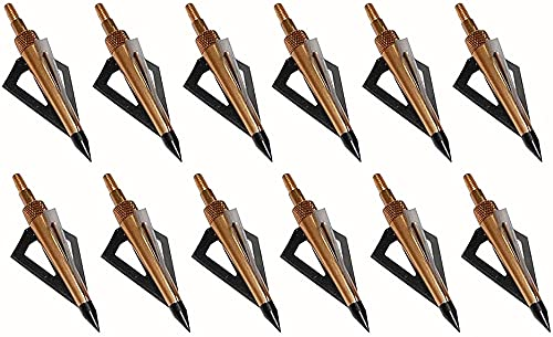 Huntingdoor Hunting Broadheads 125 Grain 3 Fixed Blade Archery Arrowheads Screw in Hunting Arrow Tips for Compound Bow and Crossbow,12Pcs