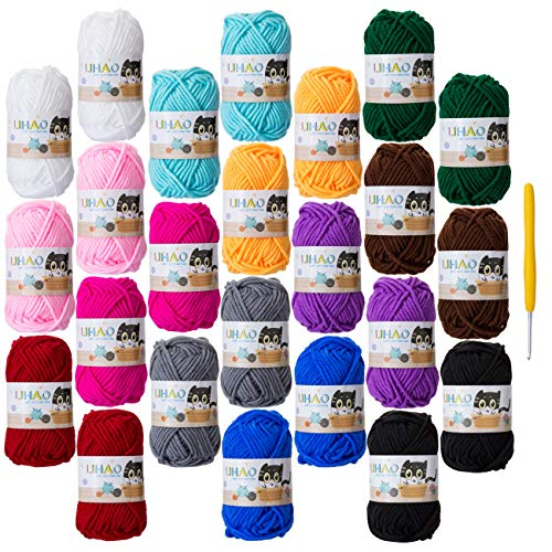 LIHAO 24 Lanas para Tejer Ovillos de Lana Estambre Algodón Lanas Crochet (15g x 12 Colores)