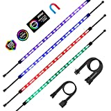 Aclorol RGB LED Strip Lights PC Magnetic LED Light Strip 4pcs 16in for PC Case M/B with 12V 4-pin RGB Headers Compatible with ASUS Aura Gigabyte Fusion MSI Mystic Motherboard 4PCS 84 LEDs