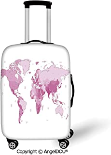 AngelDOU Thicker Spandex Travel Suitcase Protective Cover Light Pink Cute World Map Continents Island Land Pacific Atlas Europe America Africa Decorative White Light Pink Trolley Dust Rain Bags Acces