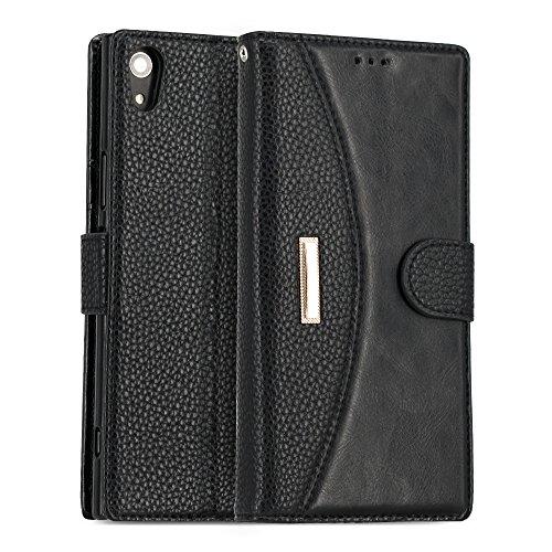 Étui de protection en cuir PU - Pour Sony Xperia - Porte-feuille, Cuir synthétique Cuir, noir, Sony Xperia XA1 Ultra