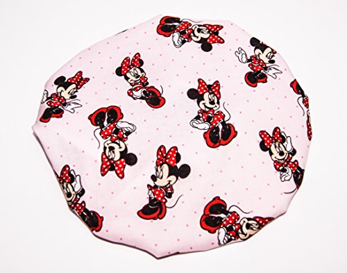 HANDCRAFTED SILVER Reversible Kids and toddlers SATIN BONNETs are lined with DISNEY MINNIE MOUSE Fabric (MADE IN USA) (KIDS MINNIE MOUSE, SILVER)