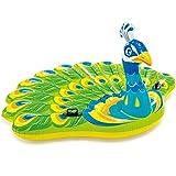 Flotador Gigante de Pavo Real, niños Adultos dedicados Hoverboard de PVC Inflable Piscina Lounge Beach, Juguetes de Fiesta Flotante de Agua multijugador