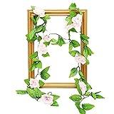 Chandler - Roseta artificial con 28 grupos de hojas verdes, 9 rosas para colgar hiedra para decoración del hogar, boda, hotel, valla, patio, restaurante, fiesta, jardín, guirnalda de corona