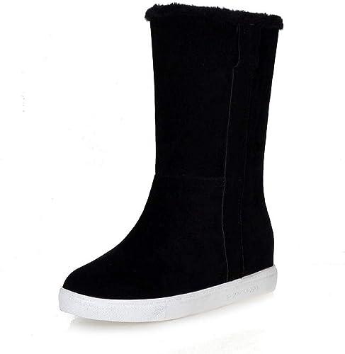 HOESCZS New Plus la la Taille 33-43 Ajouter Fourrure Bottes Chaudes d'hiver Chaussures Femme Plateforme Slip on Solid Leisure Neige Bottes Chaussures Femme  dégagement