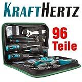 KRAFTHERTZ Premium Werkzeugbox Werkzeugtasche 96 Teile Schraubendreher Maßband Seitenschneider Nägel Lineal KH96