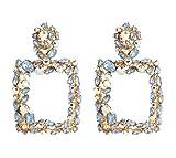 NoNo Mode Ohrstecker Retro Böhmen-übertriebenes Geometric Elegante Wilder Platz Bohreinsätze Ohrringe, Geeignet for Frauen Mädchen (2 Paar) (Color : Blue)