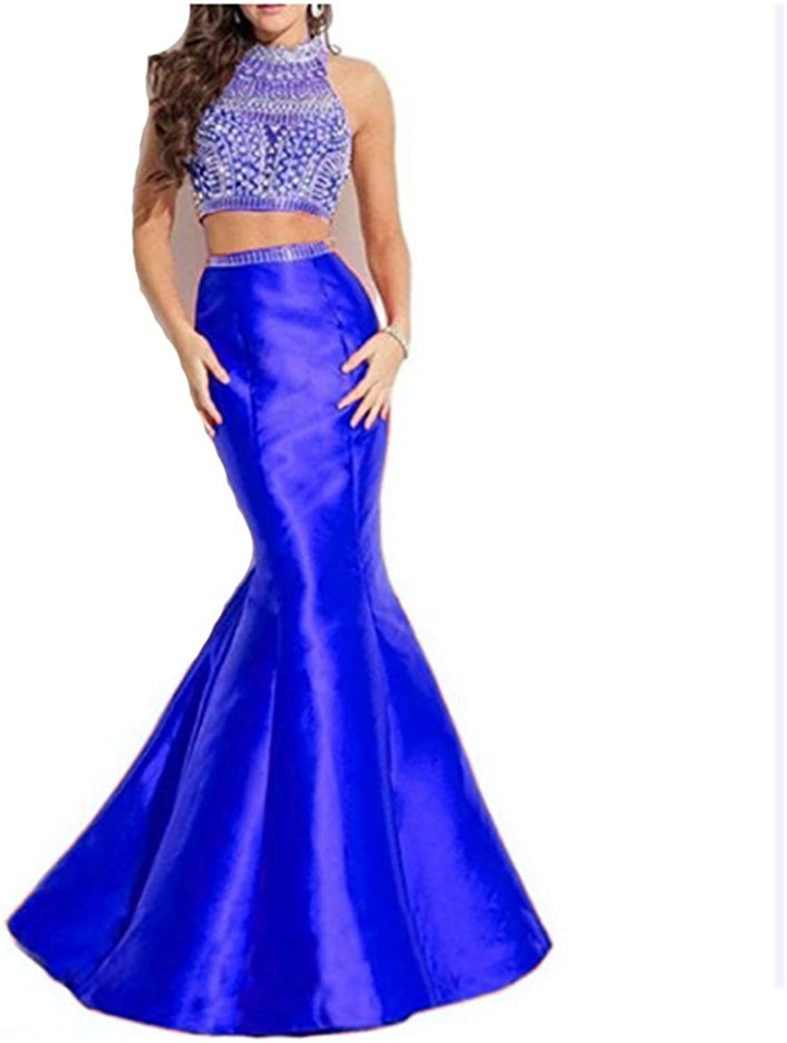Angela Women's Rhinestones Long Two Piece Prom Dress Mermaid Party Gowns