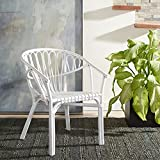 SAFAVIEH Home Collection Spirea White Rattan Living Room Accent Dining Chair (Fully Assembled) DCH9900B