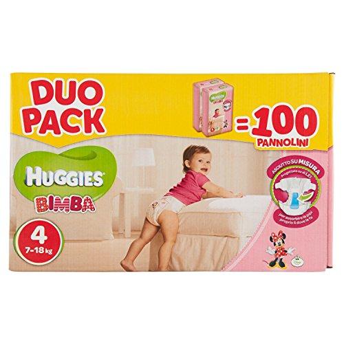 Huggies Pannolini Bimba, Taglia 4 (7-18 kg), 2 confezioni da 50 [100 Pannolini]