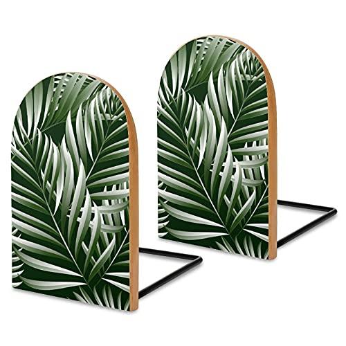 2 fermalibri in legno con foglie di palma tropicale, estremità del libro della giungla, estremità decorative per contenere libri, libri di cucina, DVD, mosse retrò