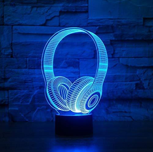 Luz nocturna 3D El mejor regalo para cumpleaños de niños 3D Dj Forma de auriculares Luz nocturna Lámpara de mesa LED Decoración de dormitorio Música Auriculares coloridos Iluminación para dormir