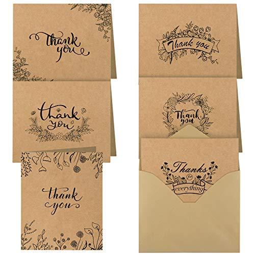TUPARKA 36 Stück Dankeskarten Kraftpapier thank you cards Danke Grußkarten mit Umschlägen für Thanksgiving Day Hochzeit Brautparty, Jahrestag, Geschäft