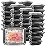 50-Pack Tiny Meal Prep Plastic Microwavable Food Containers meal prepping & Lids.'12 OZ.' Black Rectangular Reusable Storage Lunch Boxes -BPA-free Food Grade- Freezer Dishwasher Safe -PREMIUM QUALITY