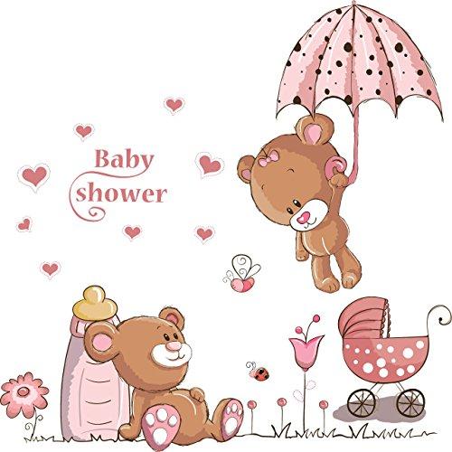WandSticker4U®- Wandtattoo BABY BÄR in rosa I I Wandbilder: 120x60 cm I Wandsticker Babyzimmer Mädchen Sweet Dreams Tiere Aufkleber Junge Blumen I Wand Deko für Kinderzimmer Kinder