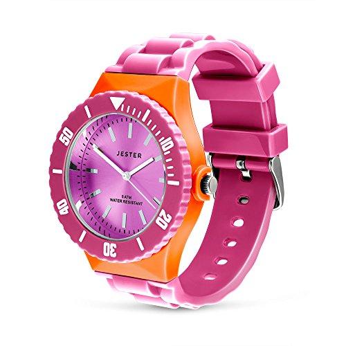 Jester, orologio per la lotta contro il cancro al seno, rosa e arancione, da adulto, unisex (personalizzabile)