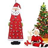 Calendario de Adviento de Papá Noel, Calendario de Cuenta Regresiva Colgar en la Pared con 24 Bolsillos, para Habitaciones de Decoración, Árbol de Navidad, Puerta Repisa de Chimenea o Escaparate(Rojo)