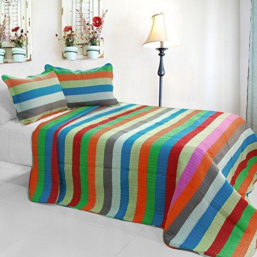 Blancho [Rainbow River] 3PC Coton Vermicelli-Quilted Parure de lit Imprimé (Full/Queen Size)