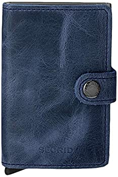 Secrid mini wallet genuine Blue leather with Titanium RFID protection / with one click all cards slide out gradually  Blue Titanium