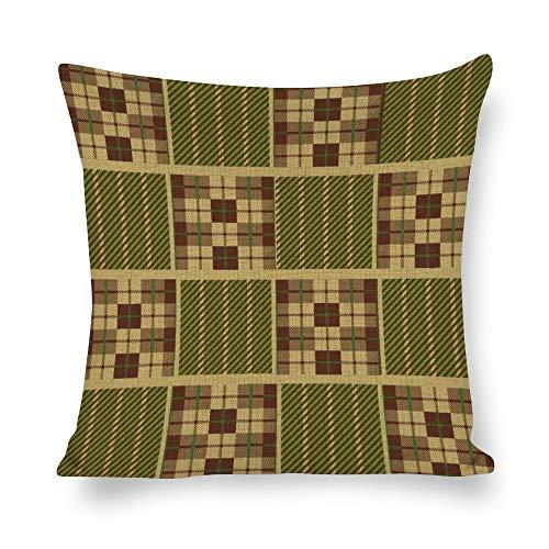 Juego de fundas de almohada sin marca de 18 x 18 cm, diseño de tartán, color verde, para granja, oficina, dormitorio, sala de estar, sala de juegos, sala de estudio, comedor, cocina