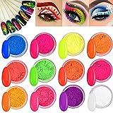 Kalolary 12 boîtes poudre à ongles pigment en poudre, poudre fluorescente colorée acrylique Nail Art dégradé poudres arc-en-ciel ongles paillettes pour bricolage décoration des ongles