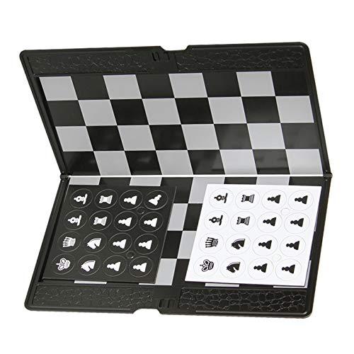 Fuyamp Juego de ajedrez magnético de viaje plegable de bolsillo, cartera de ajedrez 3 en 1, juego de ajedrez de ajedrez, juego de backgammon, buen diseño, regalo para viajar duradero