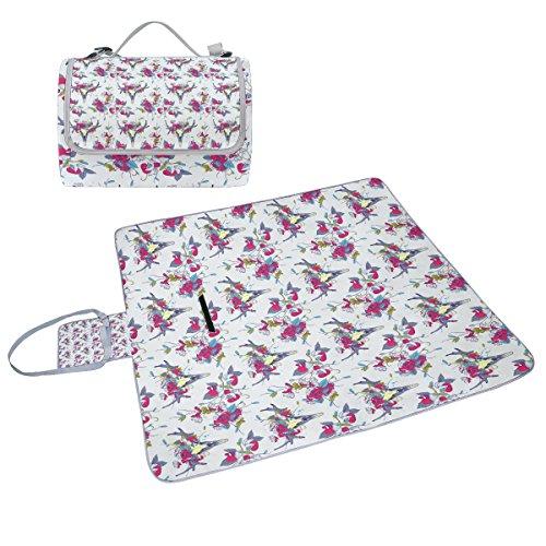 COOSUN Picknickdecke mit Totenkopf-Motiv in Blumen, handliche Matte, schimmelresistent und wasserdicht, für Picknicks, Strand, Wandern, Reisen, Reisen und Ausflüge