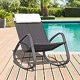 OC Orange-Casual Rocking Chair Patio Furniture All-Weather Rattan Outdoor Glider Rocker w/Headrest Pillow, Brown