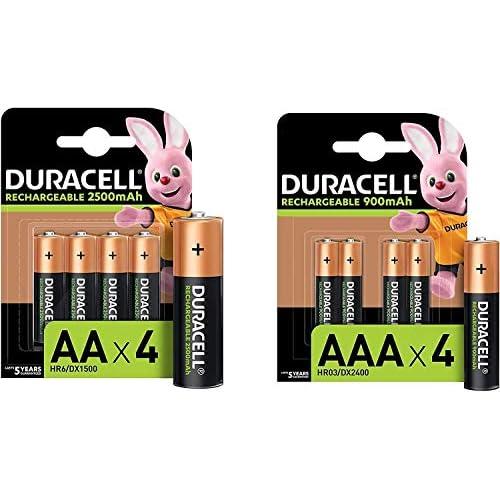 Duracell Rechargeable AA 2500 mAh + Rechargeable AAA 900 mAh, 4 Batterie Stilo Ricaricabili 2500 mAh + 4 Batterie Ministilo Ricaricabili 900 mAh, 8 Batterie