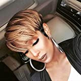 TOOCCI Ombre Pixie Cut Parrucche Corta Parrucca Donna Capelli Umani Veri Short Straight Pixie Human Hair Wigs Color T1B 30 Naturali Brasiliani 130% Density